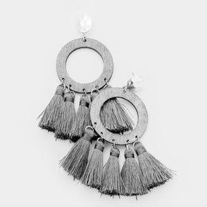 Abril Multi Tassel Linked Wood Metal Post Earrings